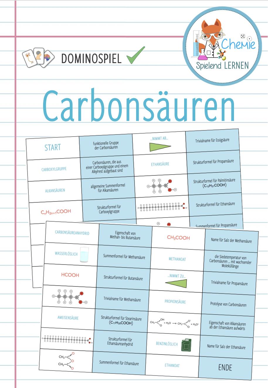 Carbonsauren Grosses Domino Spiel Unterrichtsmaterial Im Fach Chemie Domino Spiele Domino Set Spiel