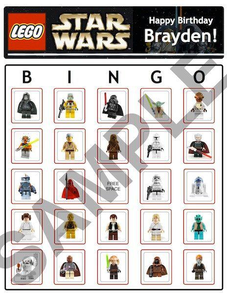 Bingo Lego Star Wars Birthday Party Game Cards By Bdaystuff4u Fun