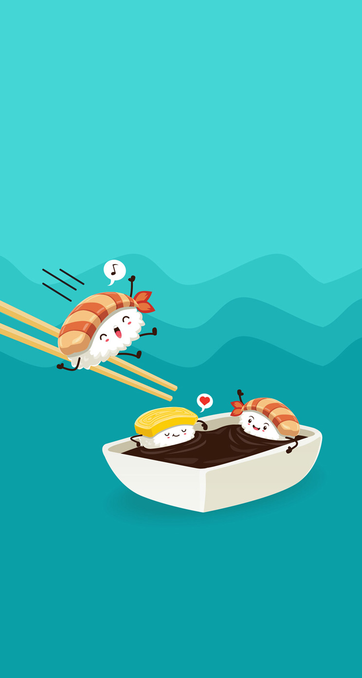 Sushi Wallpaper Divertido In 2019 Cute Cartoon Wallpapers