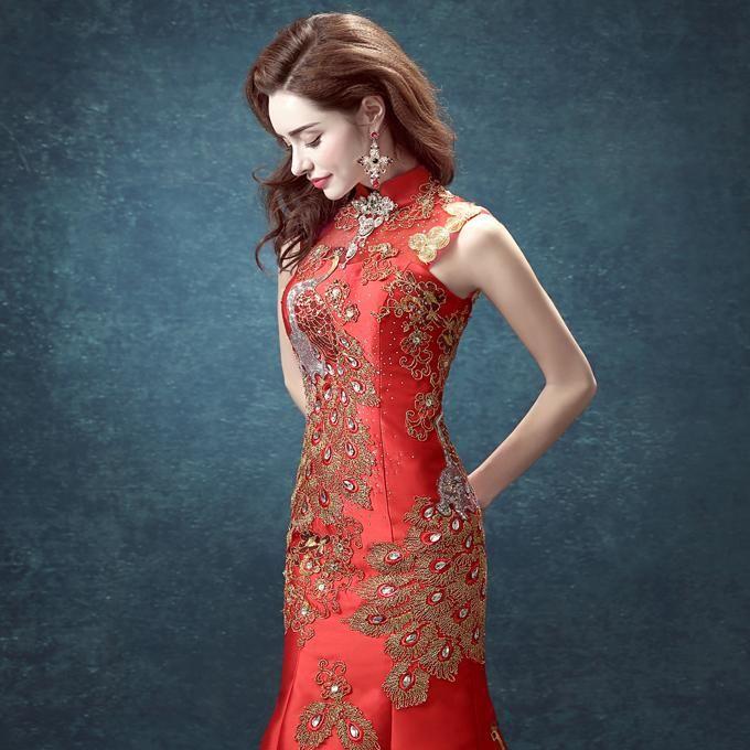 Qipao Long Red Lace Womenswear