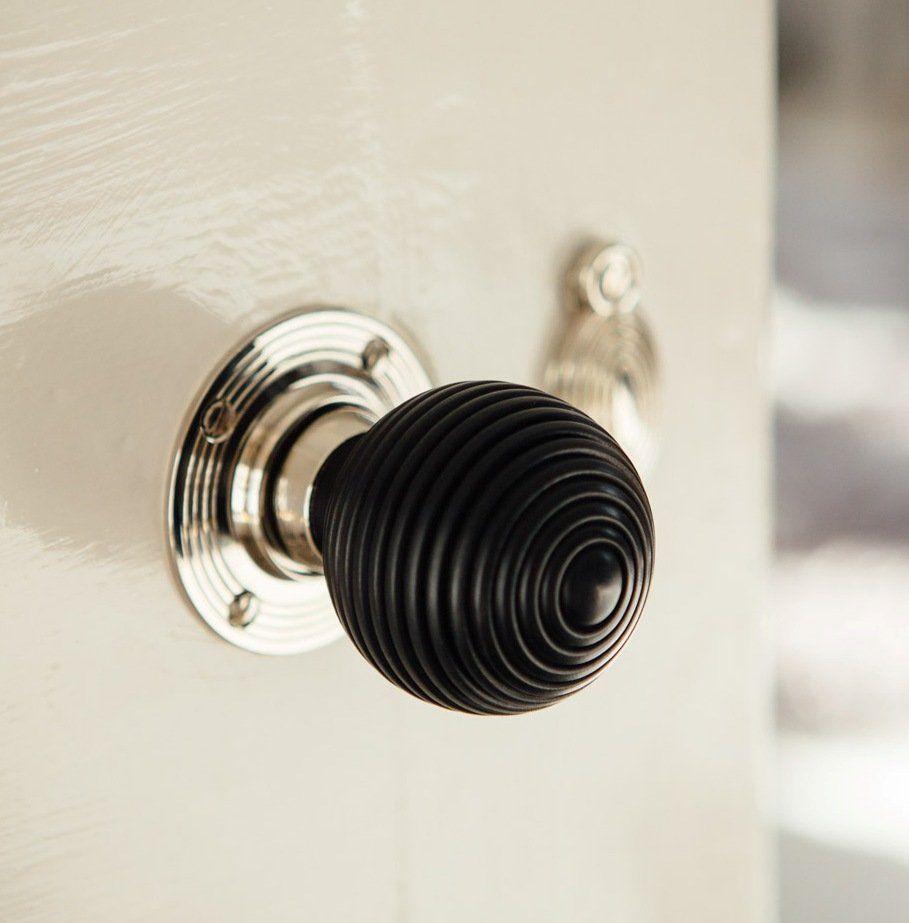 Ebony-Wood Beehive Door Knobs (Pair) - Nickel Collar & Rose save 15 ...