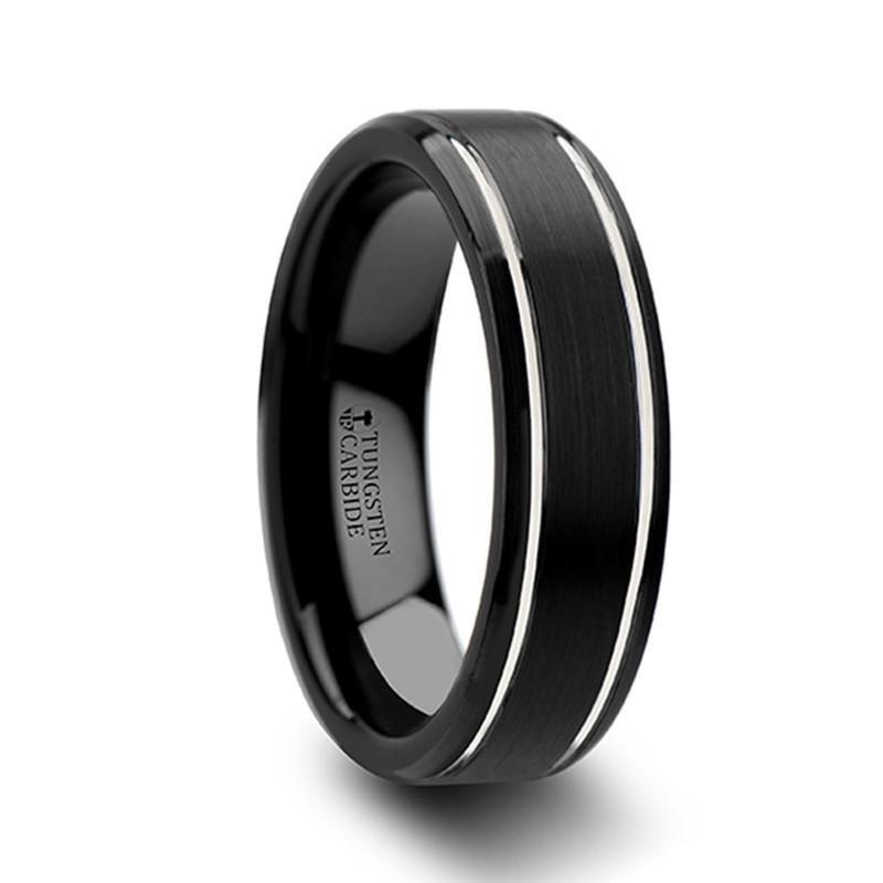 Twilight Beveled Black Tungsten Wedding Band For Men From Wedding Bands Hq In 2020 Black Tungsten Wedding Band Black Tungsten Rings Black Tungsten Carbide