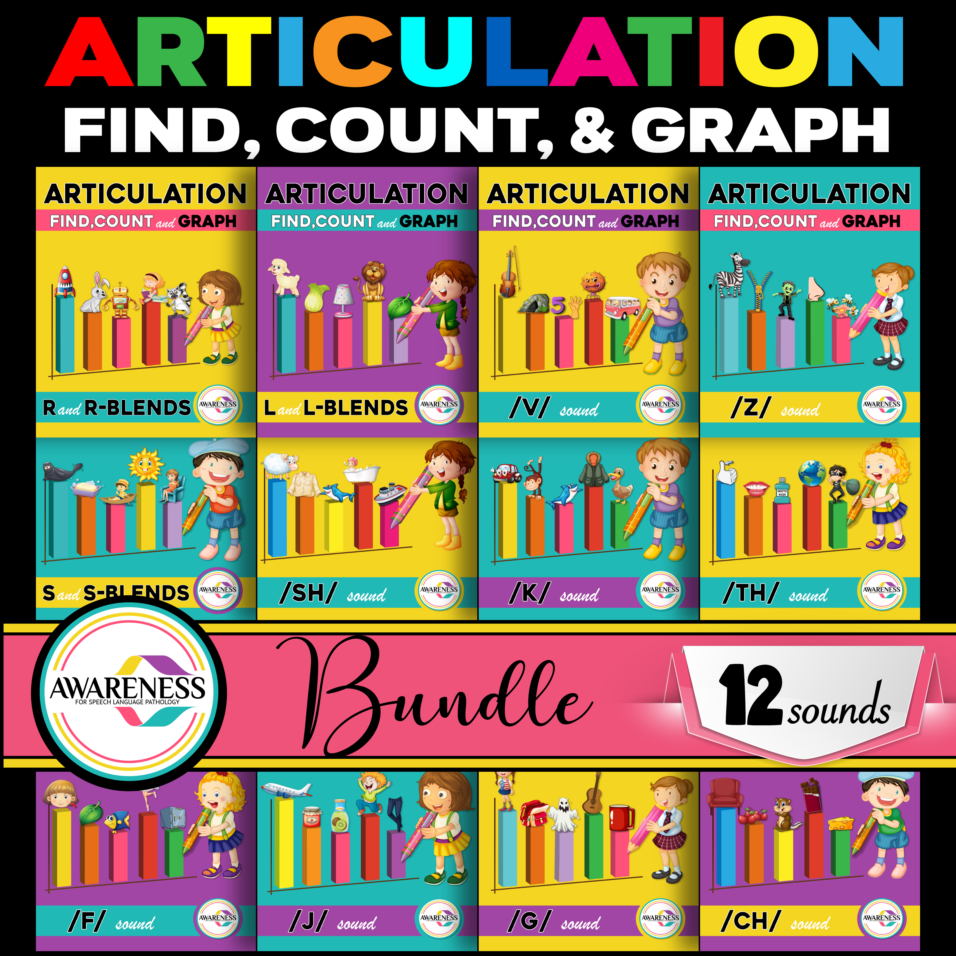 Articulation Worksheets Count Amp Graph Bundle With Images