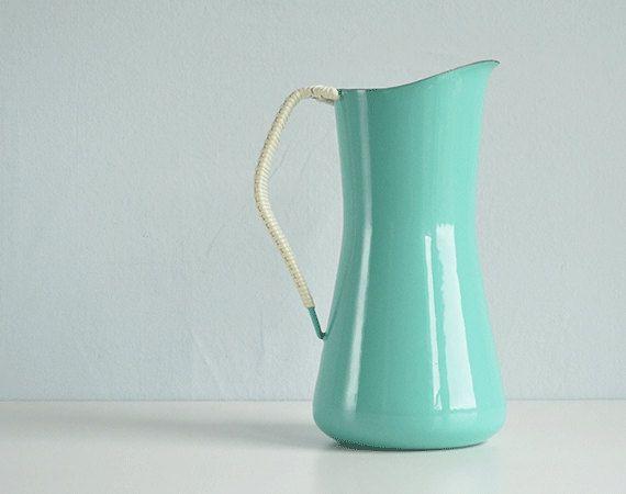 Vintage Dansk Enamel Kobenstyle Pitcher / Mid Century Turquoise Blue IHQ Denmark on Etsy, Sold