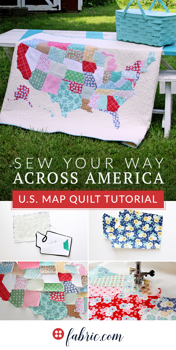Us Road Map Fabric U.S. Map Quilt Tutorial | Map quilt, Quilts, Map quilt pattern