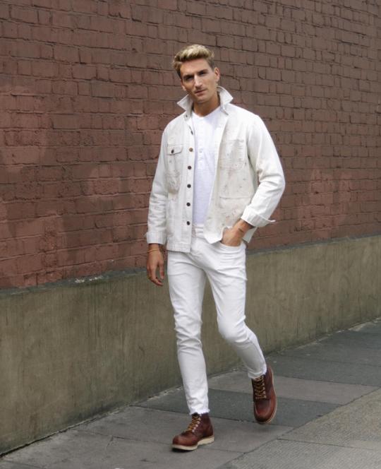 Slim · Men's Fashion · Full white mens look. White jacket from Polo by  Ralph Lauren, White long sleeve