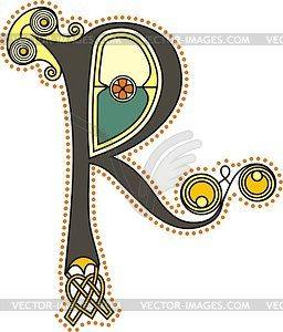 Celtic Initial Letter R  Vector Clip Art  Calligraphie Et