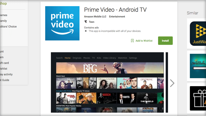 Amazon Prime Video App Appears In The Google Play Store For Android Tv Amazon Prime Video App Prime Video App Amazon Prime Video