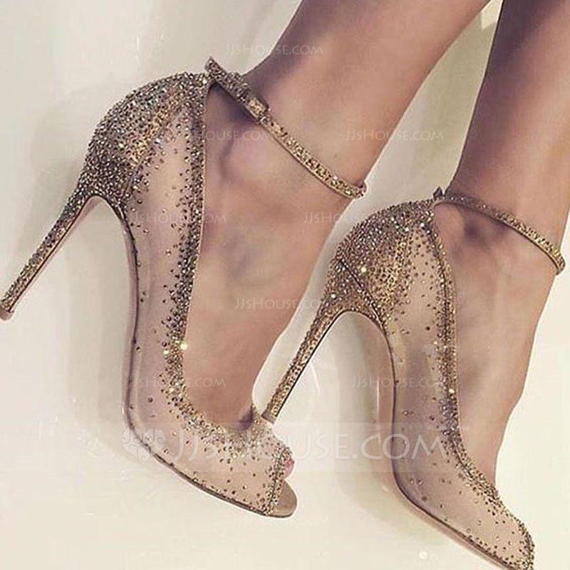 cc3dd4b4a658c Women s Mesh Stiletto Heel Peep Toe Pumps With Rhinestone (047154403) -  Wedding Shoes - JJ s House