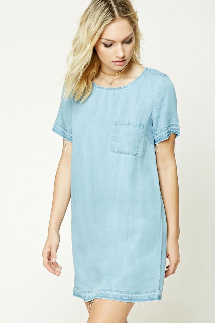 Forever 21 Contemporary A Chambray Shift Dress Featuring A Chest Pocket Short Sleeves Frayed Trim A Womens Chambray Dress Fashion Long Sleeve Shift Dress [ 1125 x 750 Pixel ]