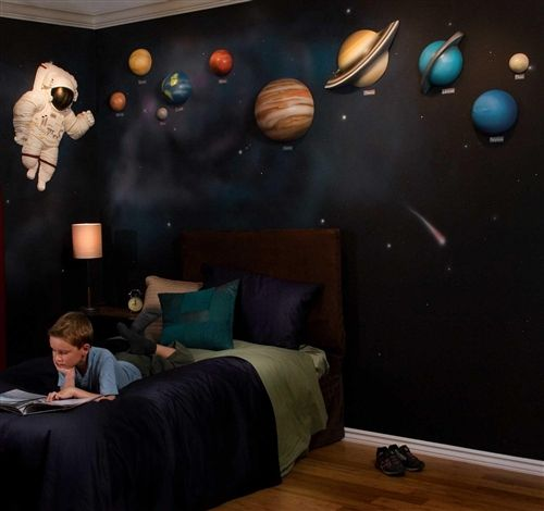 Beetling Solar System With Space Astronaut 3d Wall Art Decor In 2020 Space Themed Room Space Themed Bedroom Outer Space Bedroom