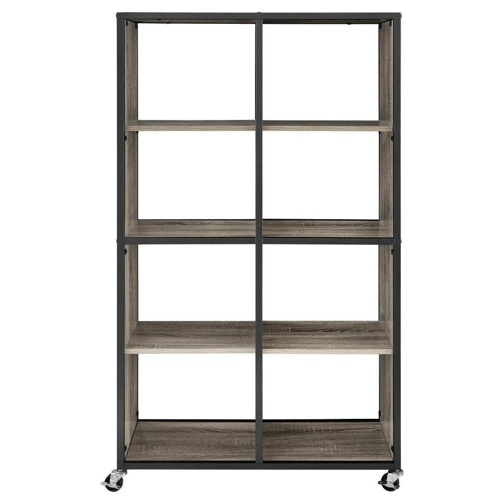 Mason ridge mobile bookcaseroom divider with metal frame sonoma
