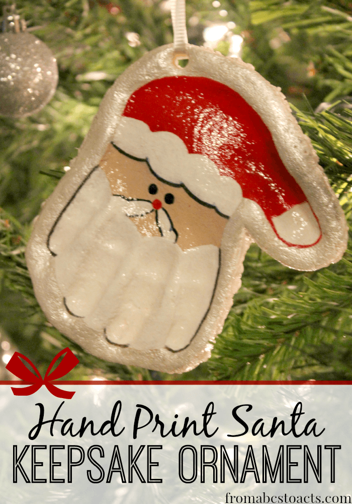 Keep their little hand prints for years to come with this adorable Hand  Print Santa Keepsake Ornament! #Christmas #crafts - From ABCs to ACTs - Hand Print Santa Keepsake Ornament Christmas Pinterest