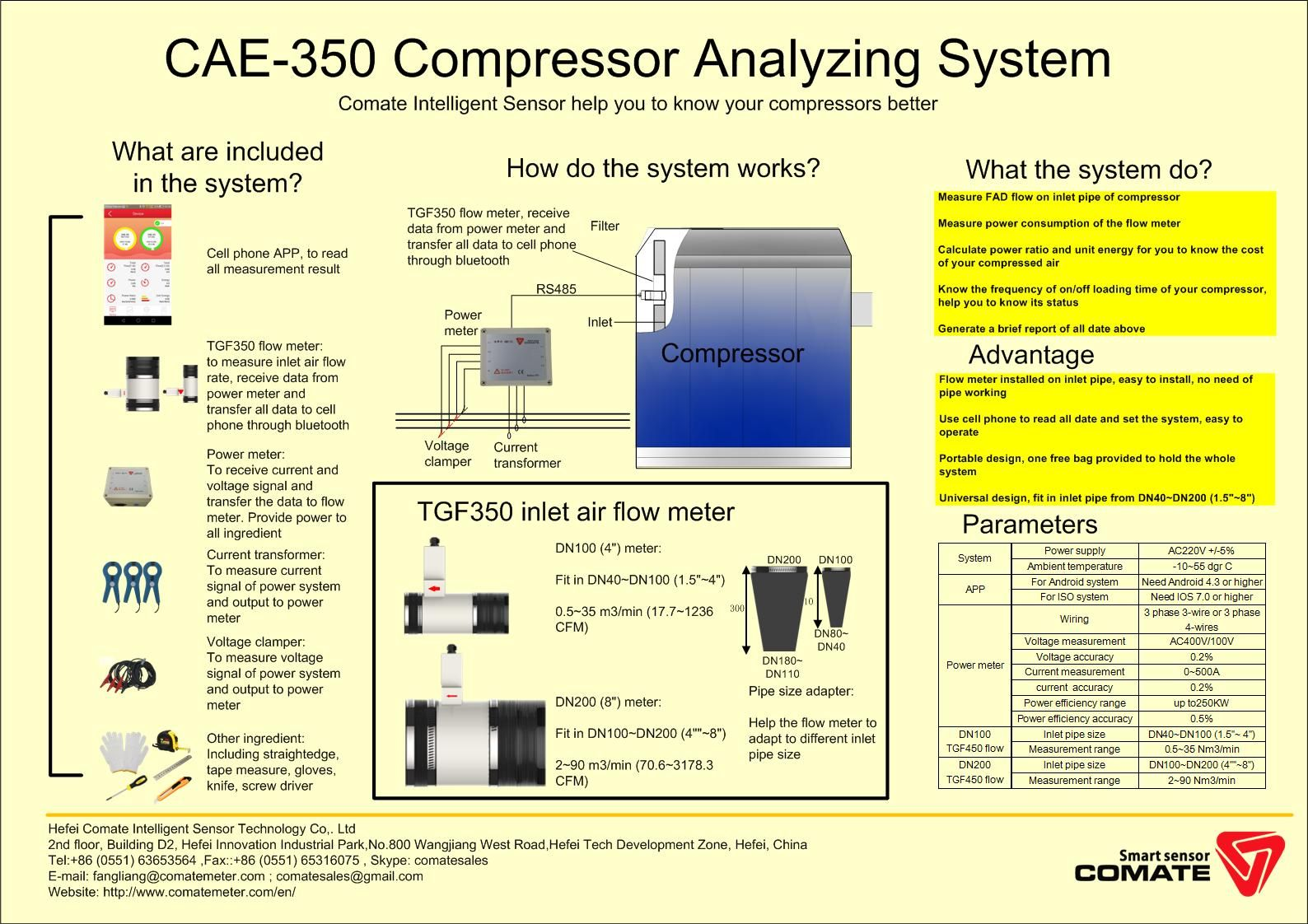 Comate CAE350S Air compressor analyzing system compressed