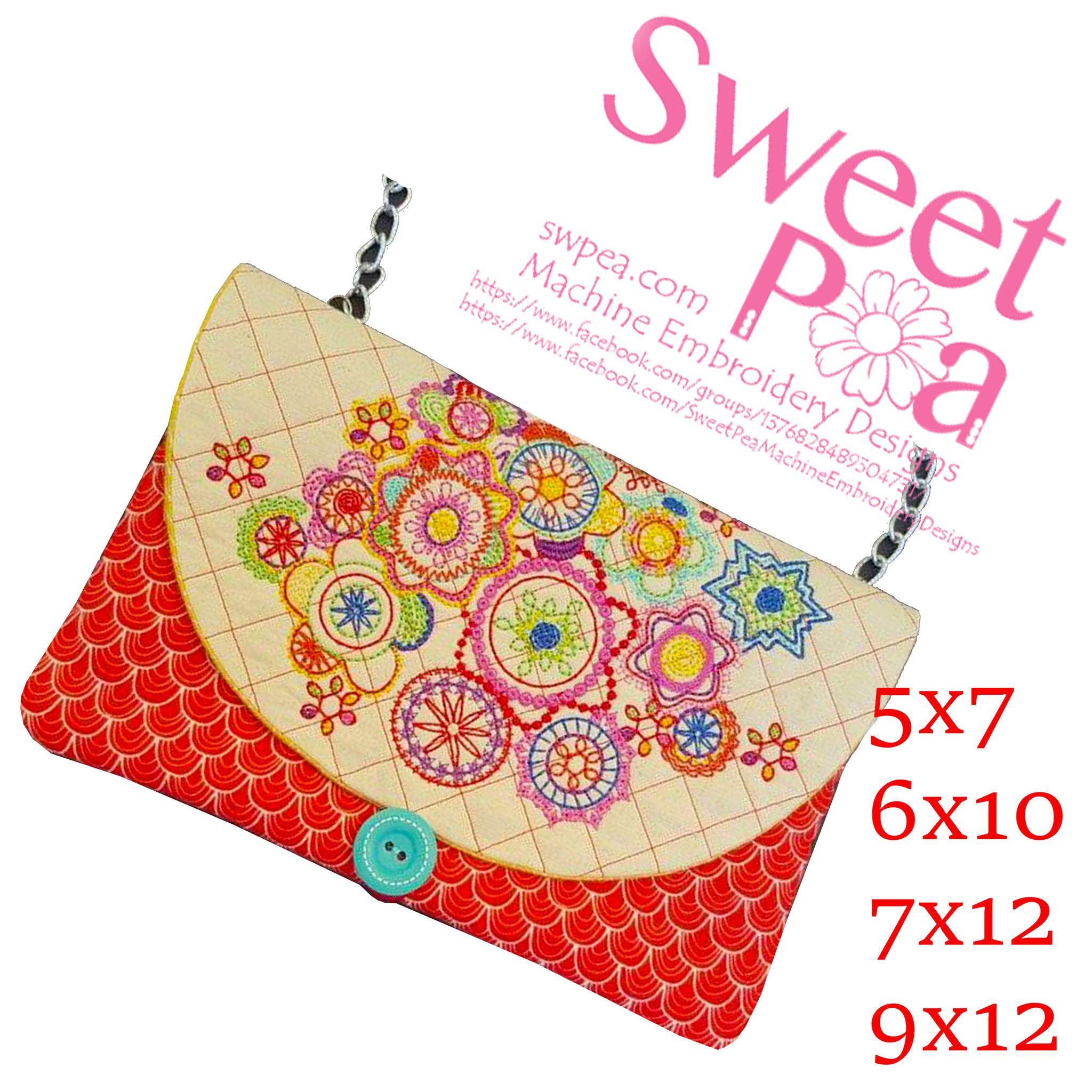 Hobo Clutch Bag 5x7 6x10 7x12 9x12 Machine embroidery