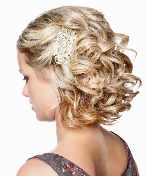 Medium Curly Caramel Blonde Updo Short Hair Styles Formal