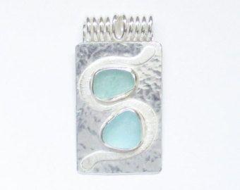 Bijoux en verre de mer Sterling Aqua Sea verre par SignetureLine