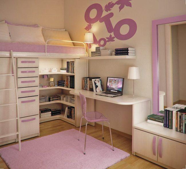 Room Kleines Kinderzimmer Raumgestaltung Maedchen Hochbett Kleiderschrank  Schreibtisch