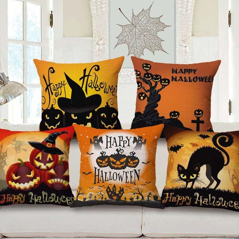 Horrible Pumpkin Pattern Pillow Cover Halloween Theme