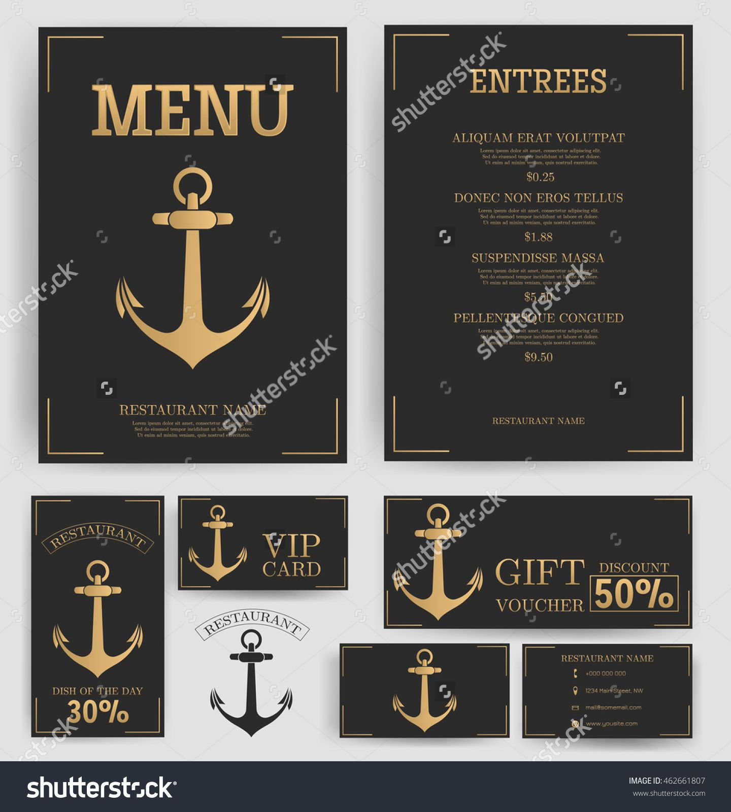 Coffee house menu template business cardflyer vip card and gift restaurant menu template elegant golden anchor black background branding business card flyer vip card and gift voucher vector reheart Image collections