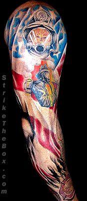 full sleeve firefighter tattoo