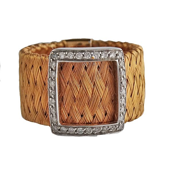 Roberto Coin 18K Rose Gold & Diamond Mesh Belt Buckle Ring