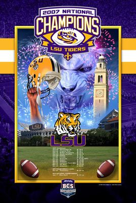 Rare LSU Tigers Football 2007 NCAA NATIONAL CHAMPIONS Commemorative Poster On EBay