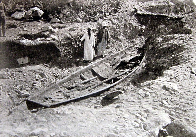 Excavations conducted in A.D. 1894 and 1895 by French archaeologist Jean-Jacques de Morgan at the funerary complex of Senwosret III (Middle Kingdom) on the plain of Dahshur revealed five or six small boats. Egypt