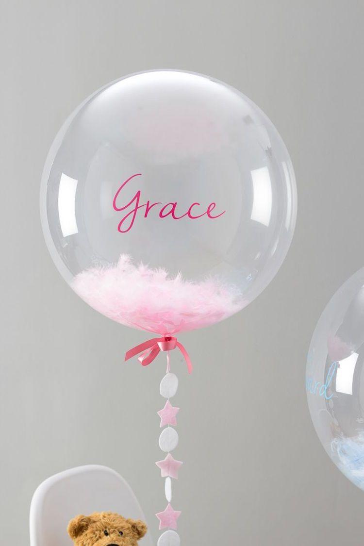 décoration de baptême pour fille avec ballon transparent confettis  ideas   decoration  girl c0665751df7
