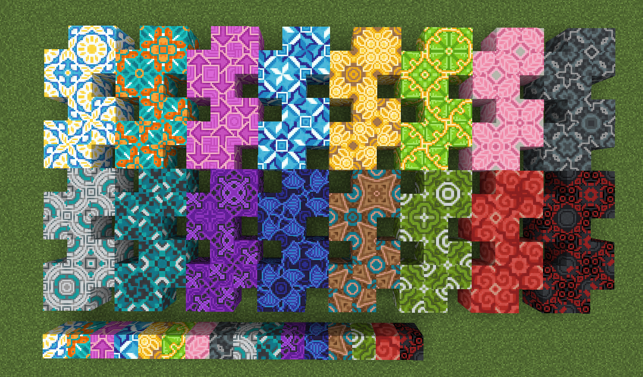 All 20 different patterns for each 20 terracotta colors ...