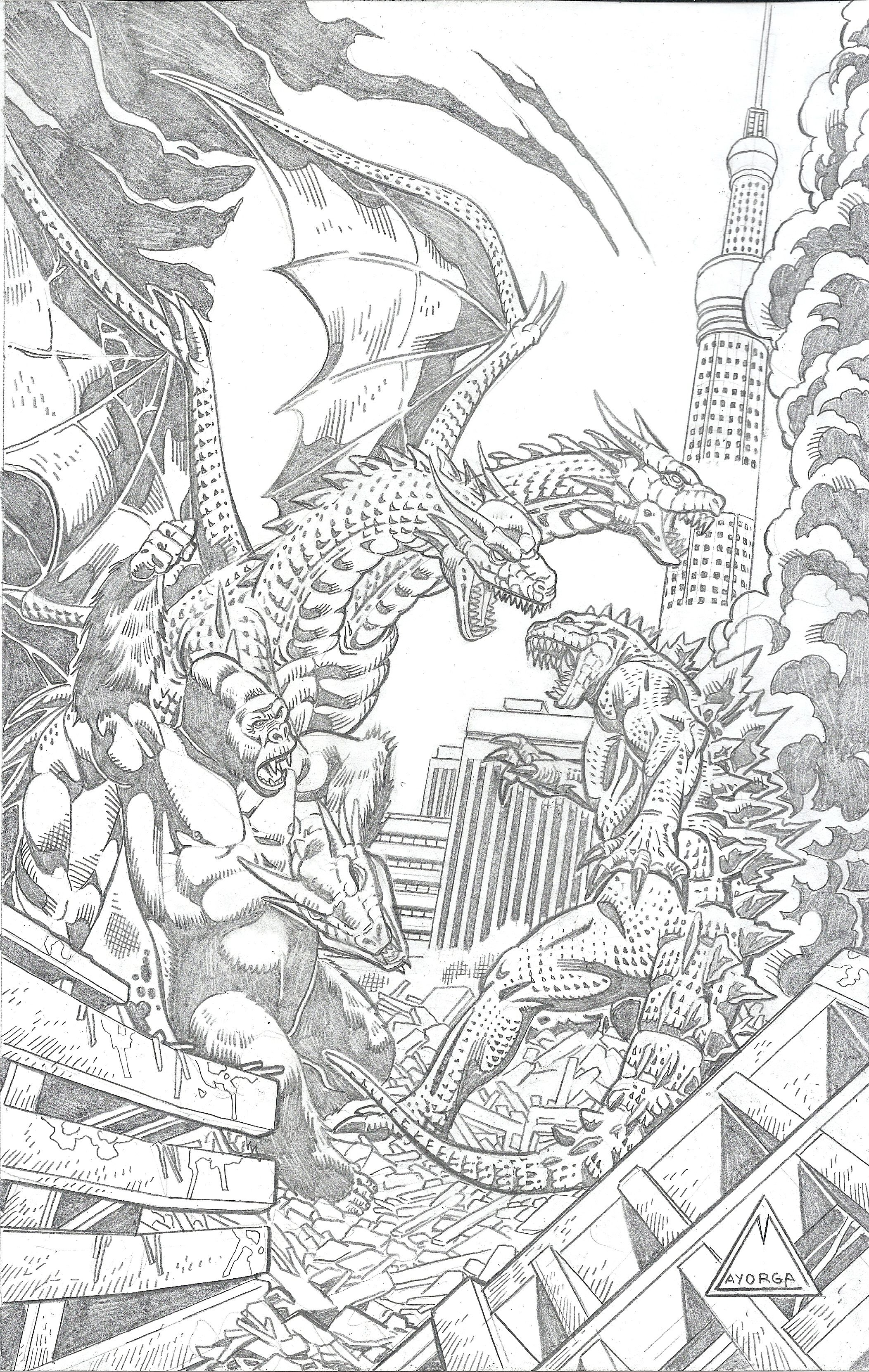 King Kong And Godzilla Vs Ghidorah Godzilla Vs King Ghidorah Classic Monster Movies Godzilla
