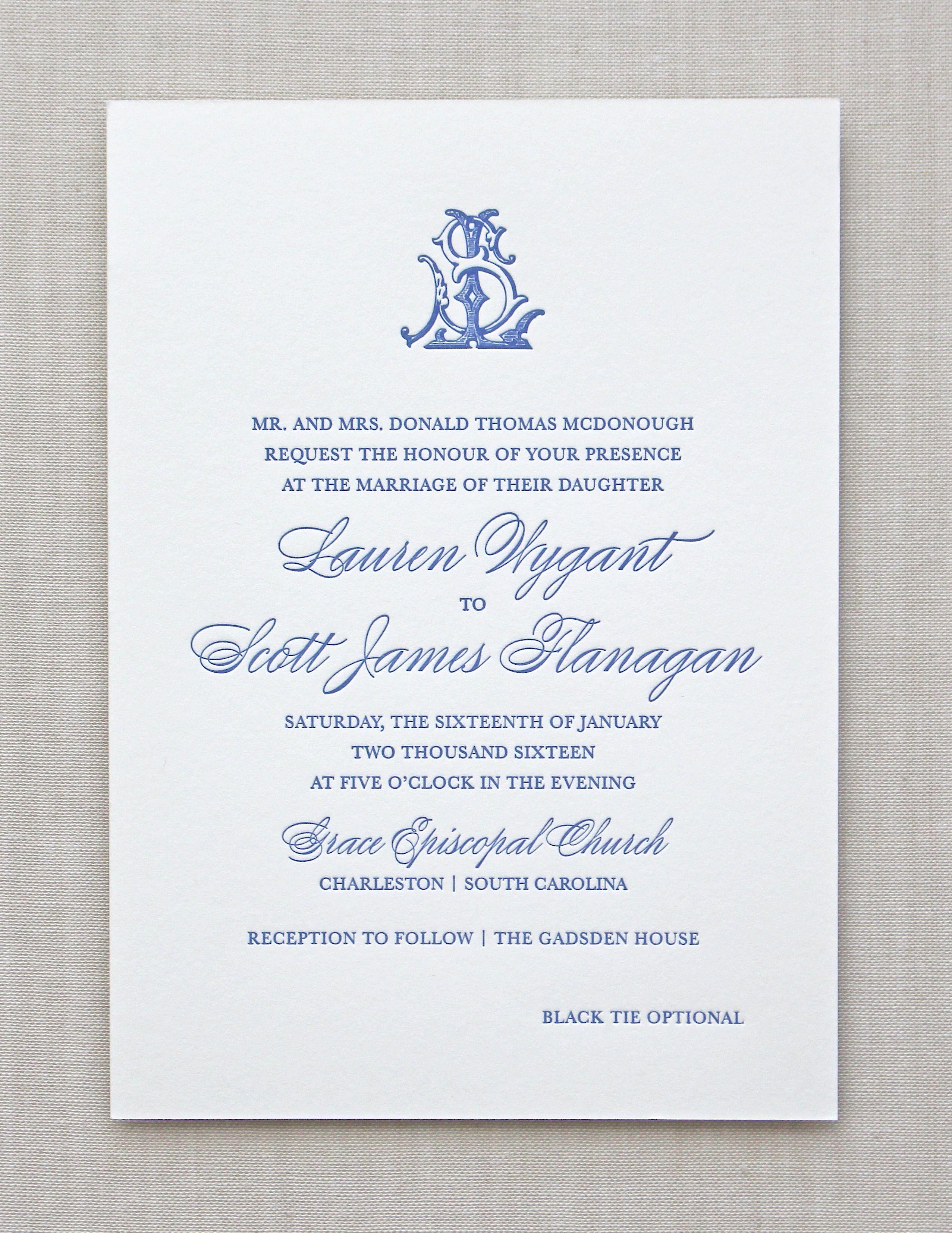 Letterpress Wedding Invitation / Charleston design / CHATHAM & CARON ...