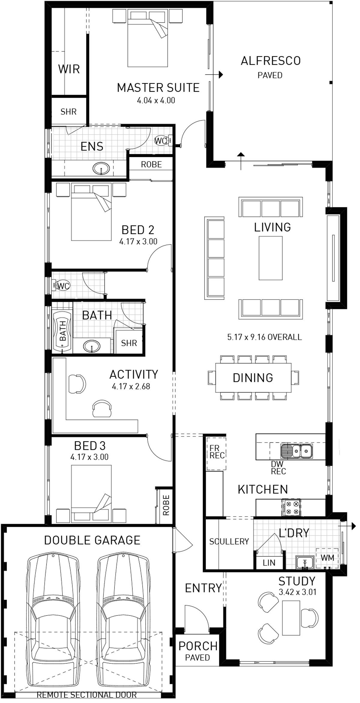 Oakbella Single Storey Modern Floor Plan Wa Single Floor House Design Narrow House Plans Modern Floor Plans
