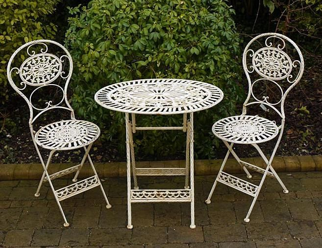 Wrought Iron Rustic Table 2 Chairs Country Cream Garden Store