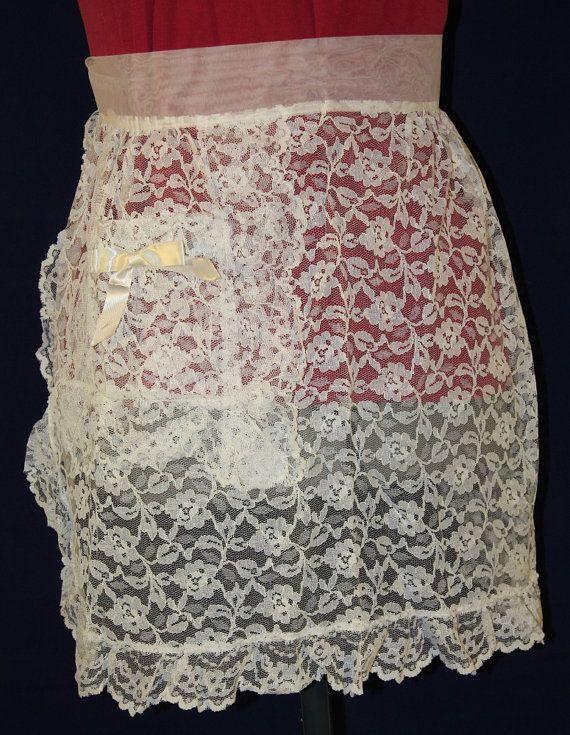 Vintage Super Fancy White Lace Hostess Apron by ilovevintagestuff