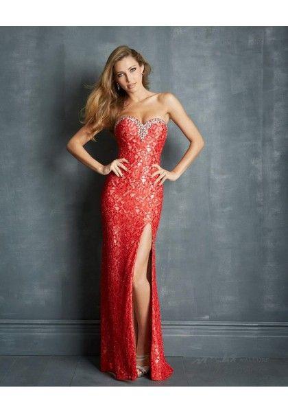 Stunning Red Sweetheart Elastic Satin Sheath Column Prom Dress Cnm0127