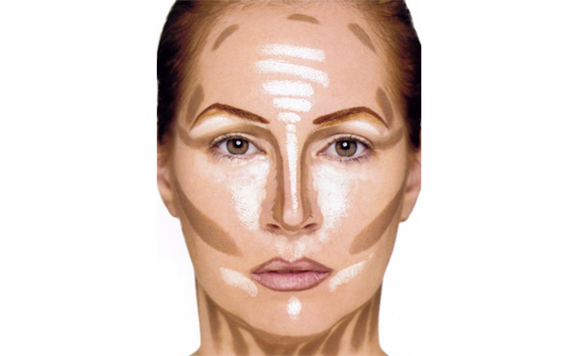 Where to apply contour and highlight to flatter your face in photos.
