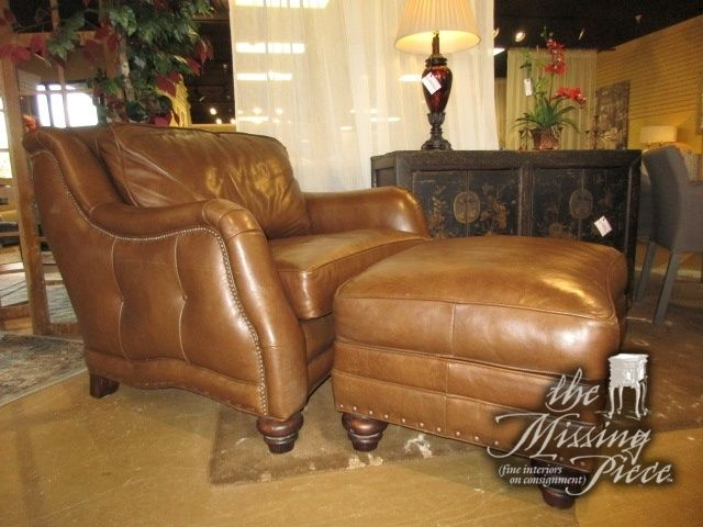 Robb Stucky Chair And A Half With Matching Ottoman In A Warm