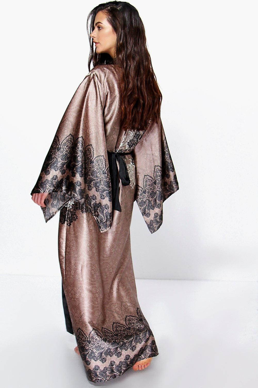 Aimee Paisley Satin Maxi Kimono Night Robe