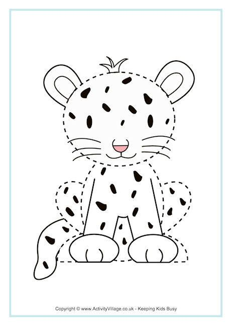 Cheetah Tracing Page Pre K And Kindergarten Printables