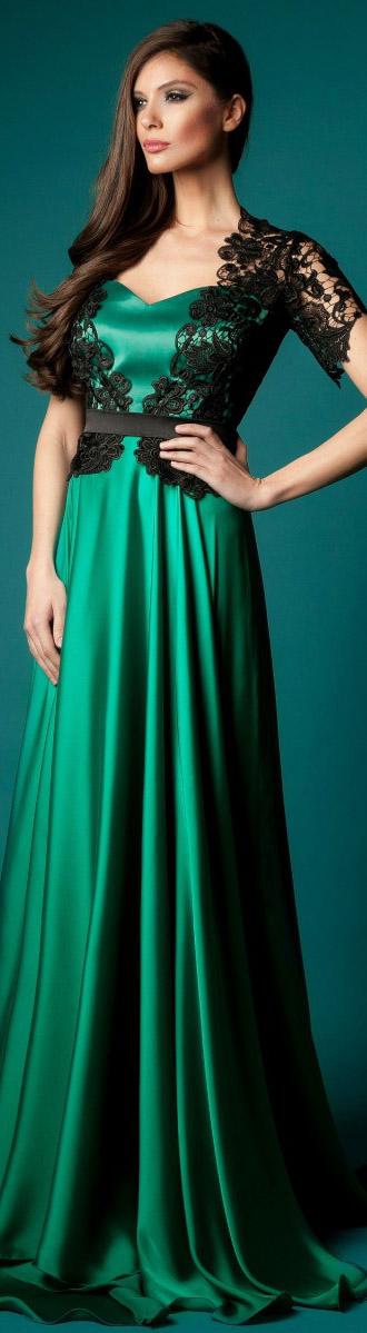 Vestidos color verde jade con negro