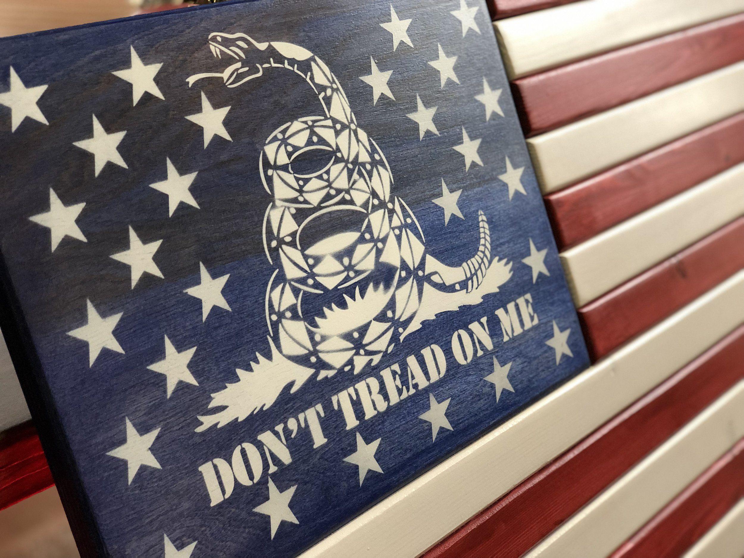 Don T Tread On Me Flag Gadsden Flag Gadsden Wall Art Gadsden Home Decor Gadsden Office Decor American Flag Wall Art American Flag Wood Man Cave Decor