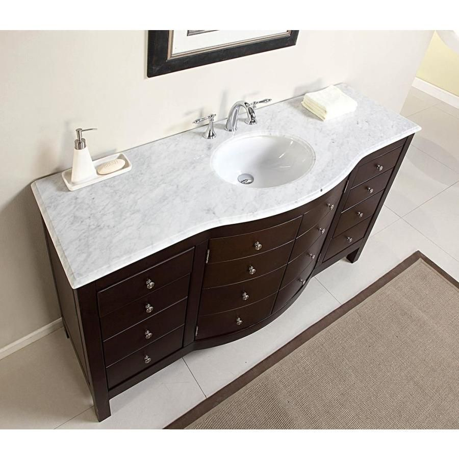 Silkroad Exclusive 60 In Dark Walnut Single Sink Bathroom Vanity With Carrara White Natural Marble Top Jb 0274 Wm Uwc 60 Bathroom Vanities Without Tops Single Sink Bathroom Vanity Bathroom Sink Vanity