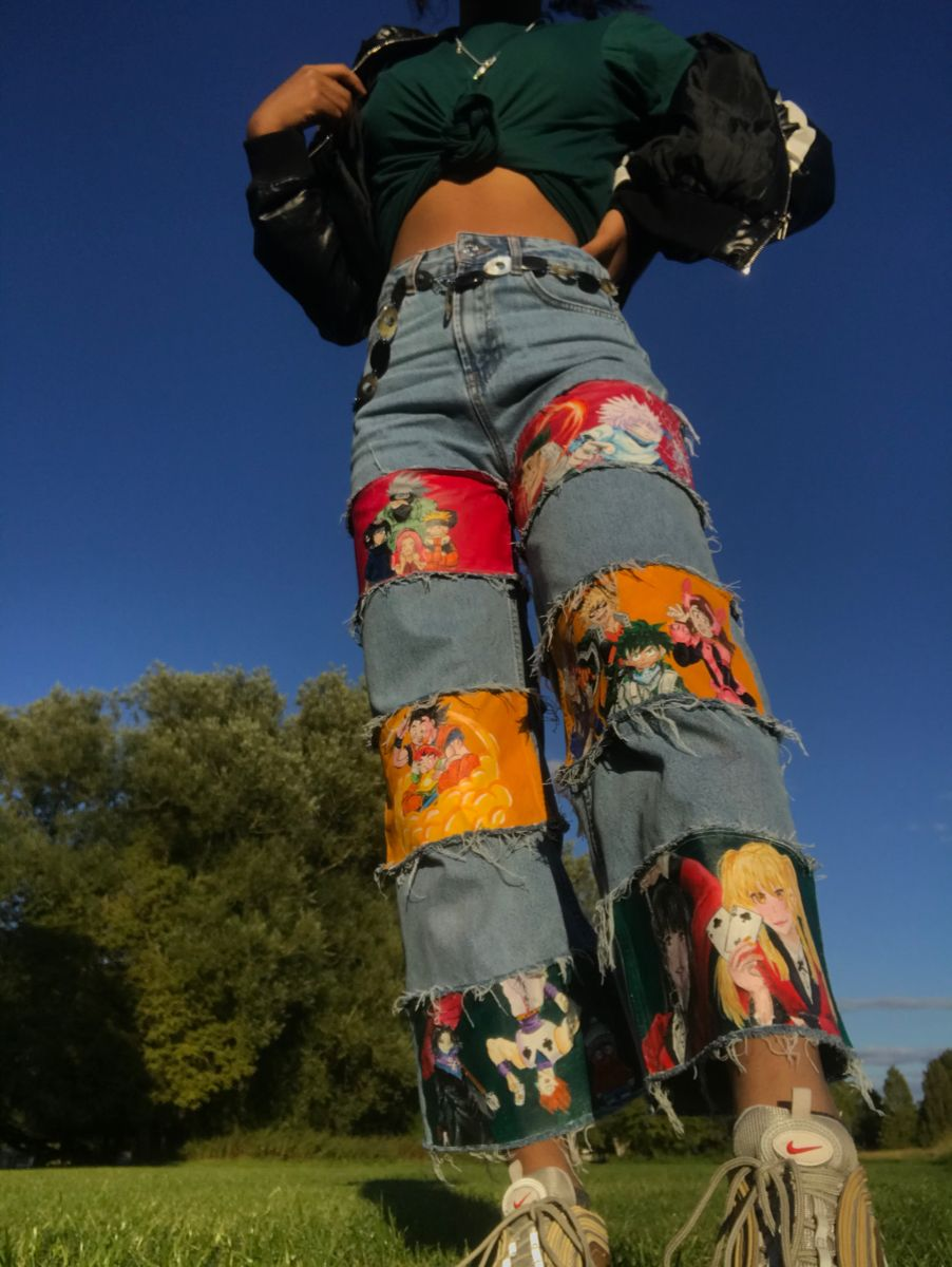 Anime hand painted trousers