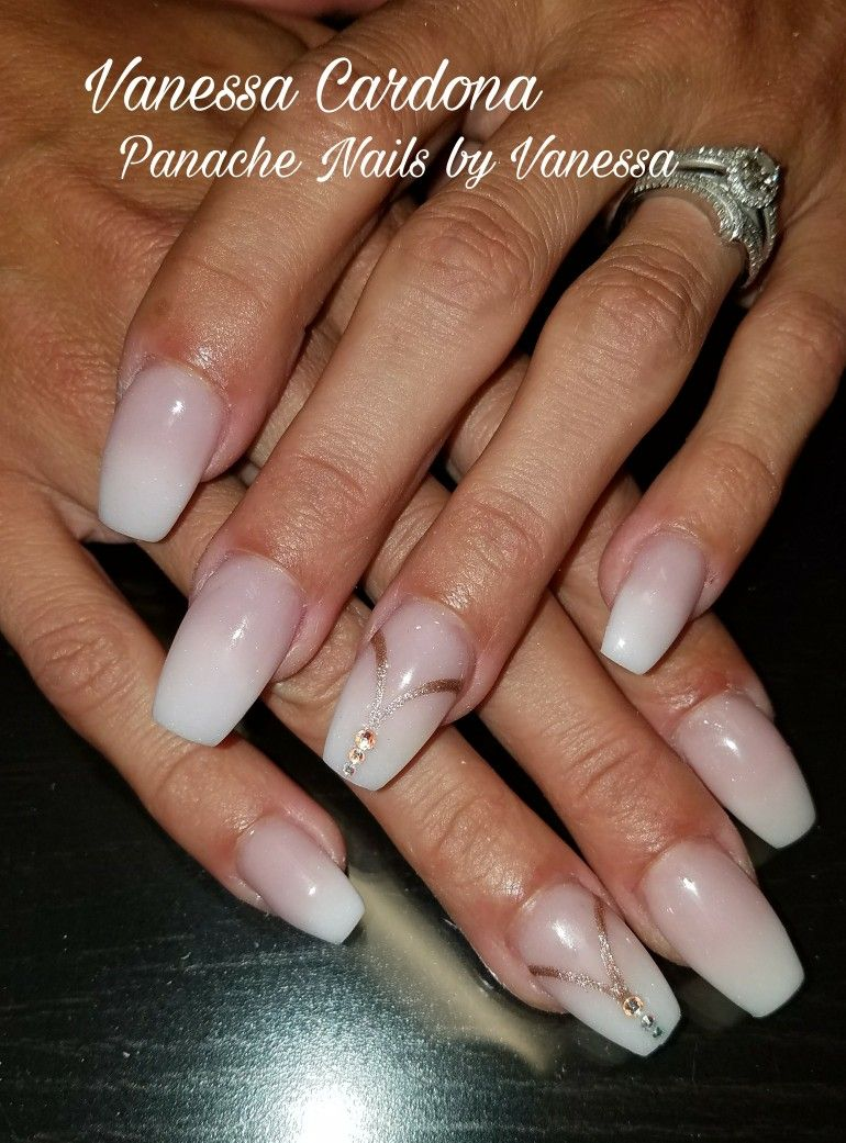 Long Coffin Baby Boomer Ombre Nails With Swarovski Crystals Nude Acrylic Blend Nail Art Simple Panache By Vanessa