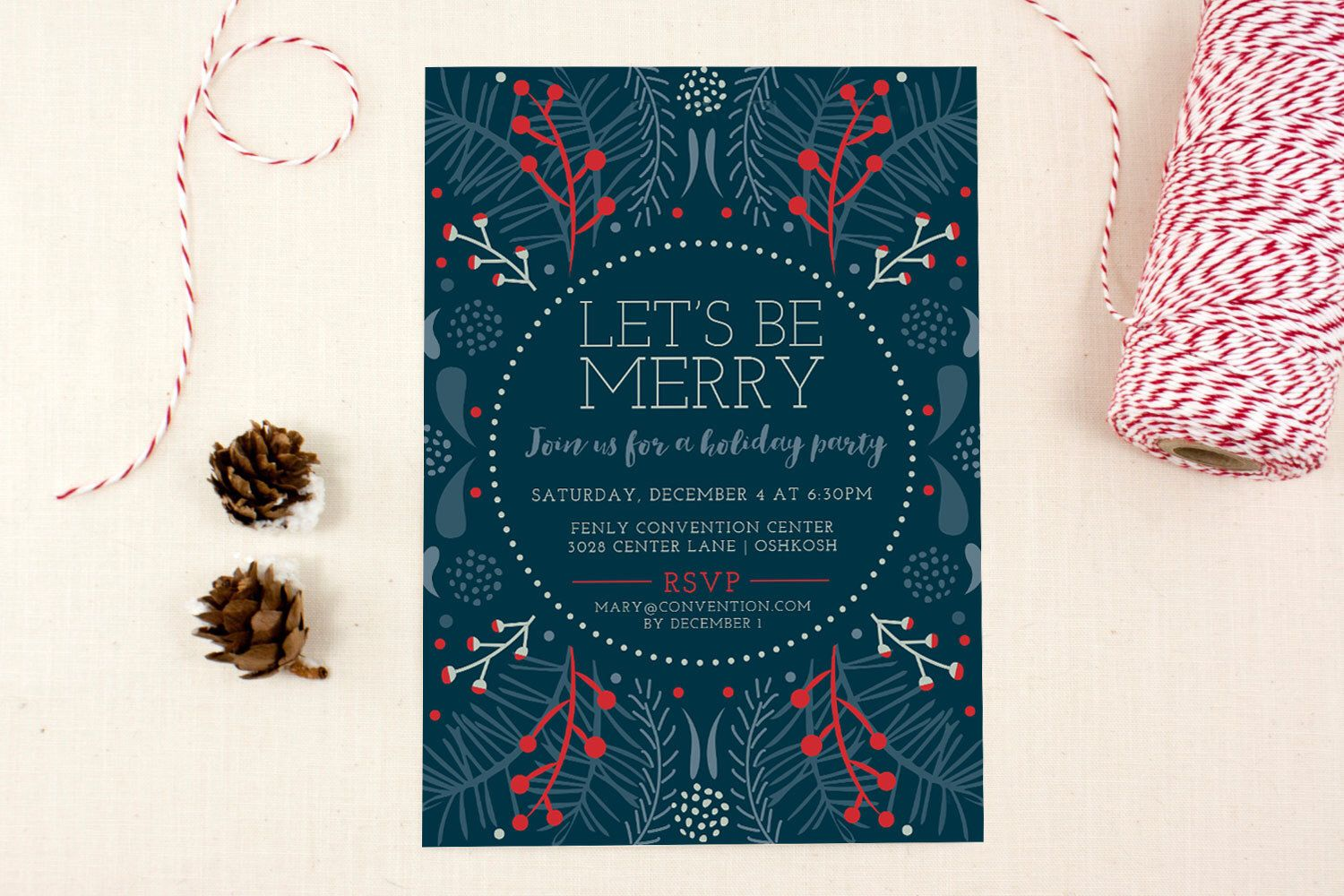 Christmas party invite deep blue lets be merry holiday