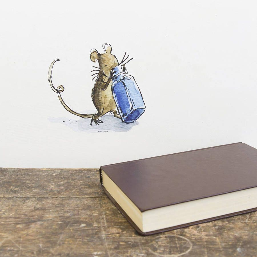 Mouse With Bottle Quentin Blake Wall Sticker Quentin