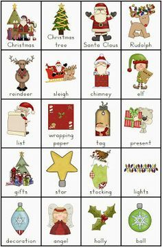 Free Pdf Christmas Vocabulary Charts And Writing Tasks Slp Ideas