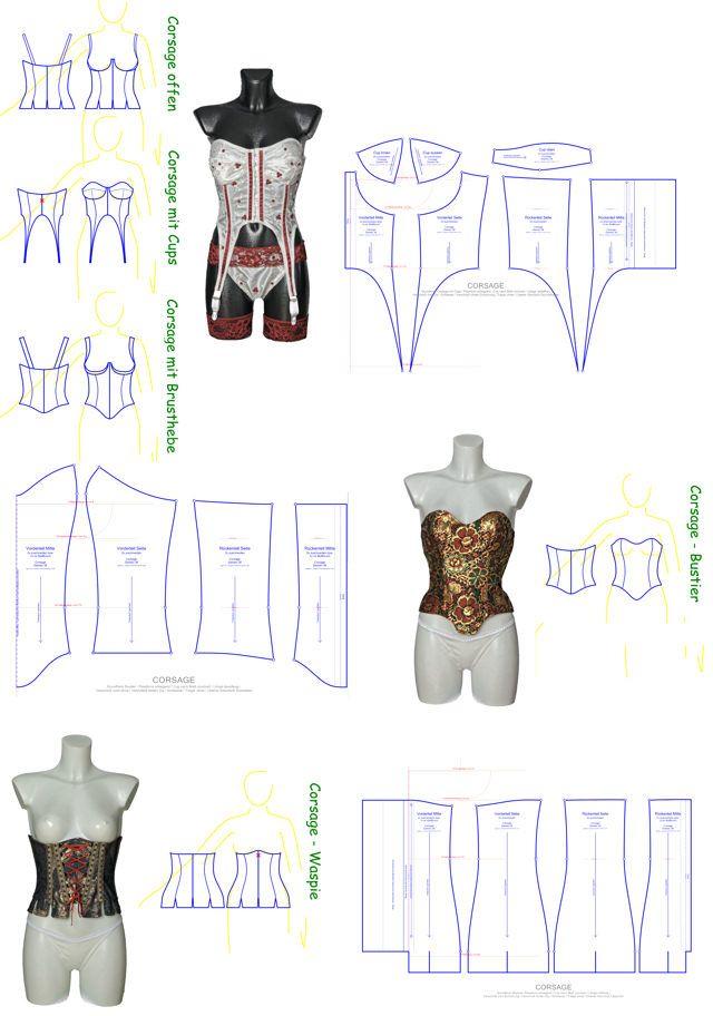 schnittmuster f r corsagen bustiers und waspies in vielen varianten und nach ma korsetts. Black Bedroom Furniture Sets. Home Design Ideas
