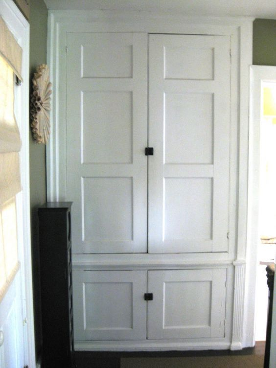 built in linen closet for hallway bedroom farmhouse. Black Bedroom Furniture Sets. Home Design Ideas